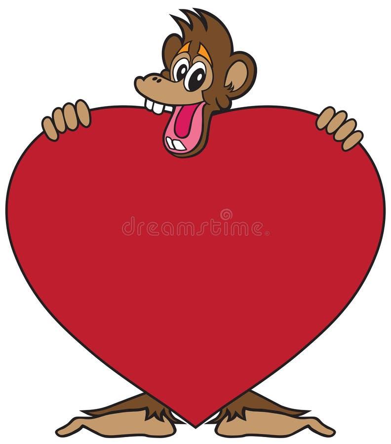 Aap met hart stock illustratie