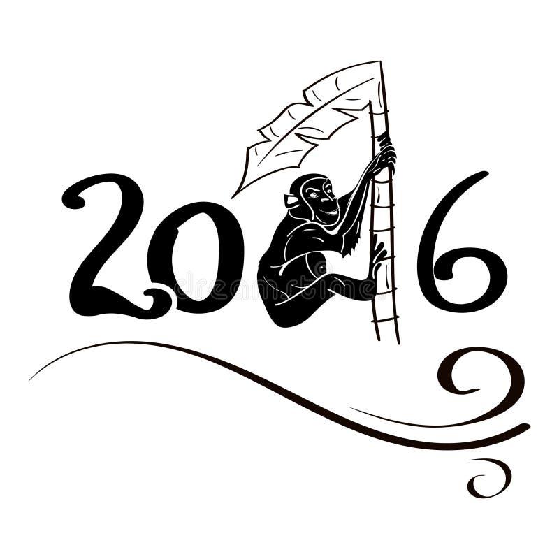 Aap op palm 2016 vector illustratie