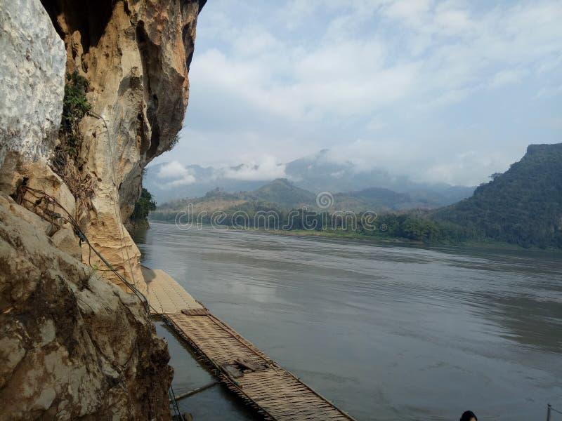 in aard is de rivier en de groene boom royalty-vrije stock afbeelding
