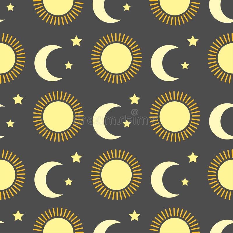 Aard de ster van de van de achtergrond zonuitbarsting glanst de naadloze patroon vectorillustratie van de de vonkenzonsopgang van vector illustratie