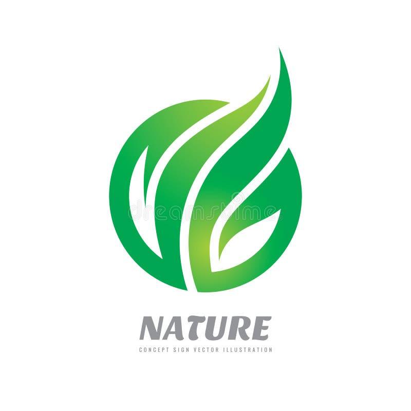 Aard - de vectorillustratie concepten van het bedrijfsembleemmalplaatje Abstract groen bladeren creatief teken Biologisch product stock illustratie