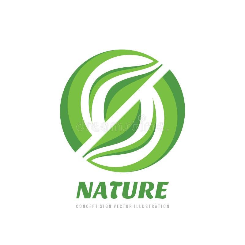 Aard - de vectorillustratie concepten van het bedrijfsembleemmalplaatje Abstract groen bladeren creatief teken Biologisch product royalty-vrije illustratie