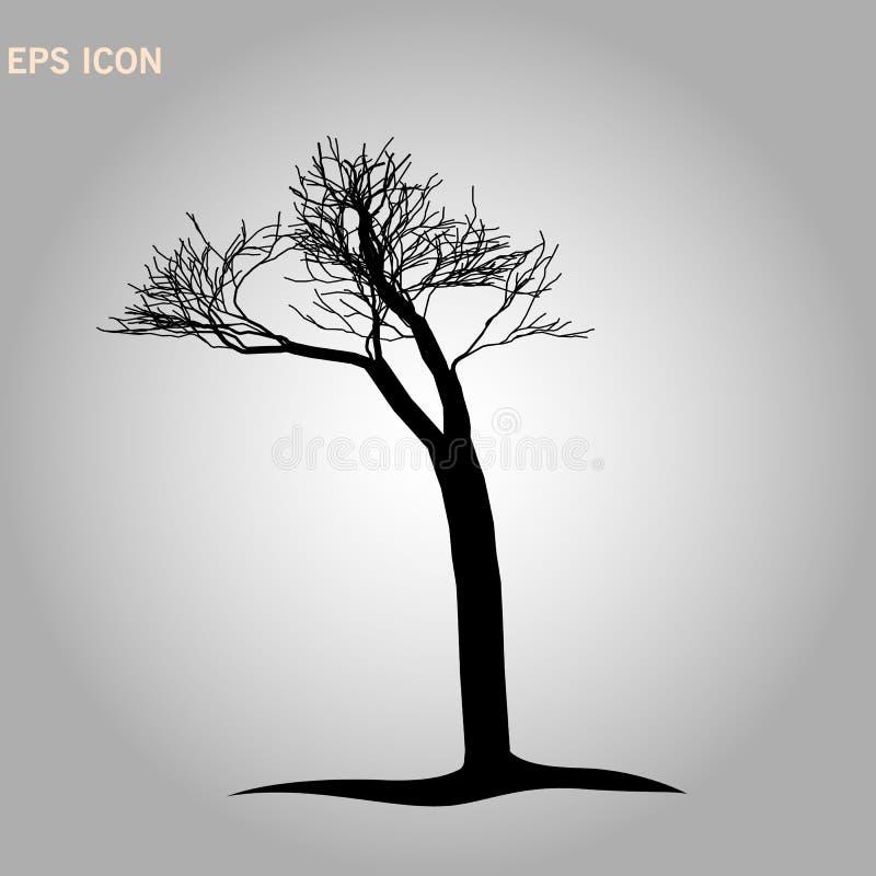 Aard en installatieconcept door droog boompictogram dat wordt vertegenwoordigd geïsoleerde en vlakke illustratie vectoreps 10 doo stock illustratie