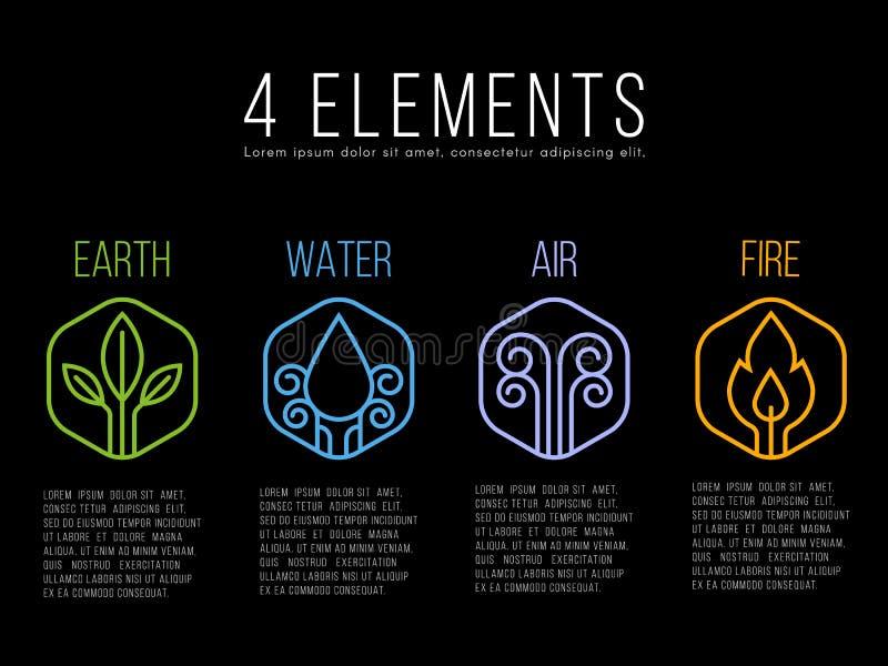 Aard 4 het embleemteken van de elementencirkel Water, Brand, Aarde, Lucht op zeshoek vector illustratie