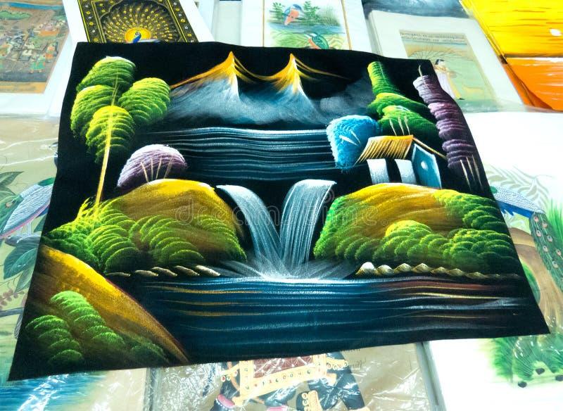 Aard het Schilderen op stof door Rajasthani Kunstenaar van India stock afbeelding