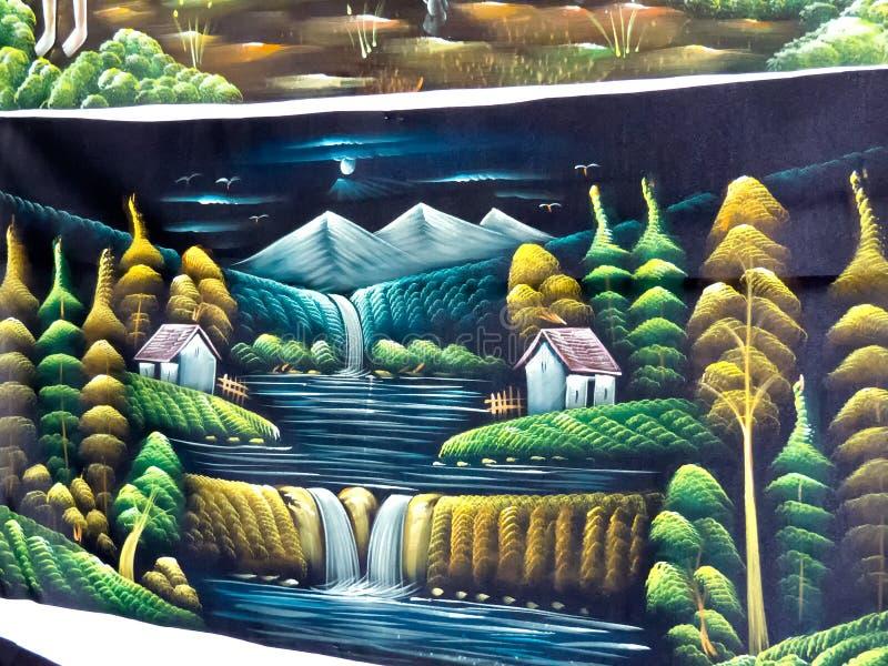 Natuurschilderen op stof door Rajasthani-kunstenaar uit India stock fotografie
