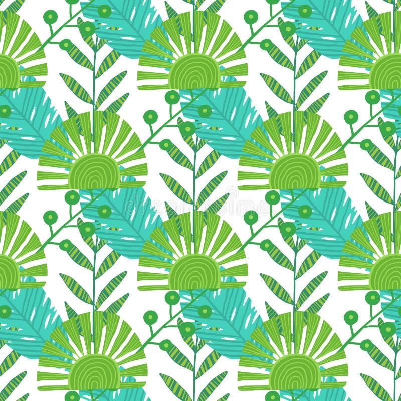 aard naadloos patroon Hand getrokken abstracte tropische de zomerpalm als achtergrond, monsterabladeren in silhouet, lijnart. royalty-vrije illustratie