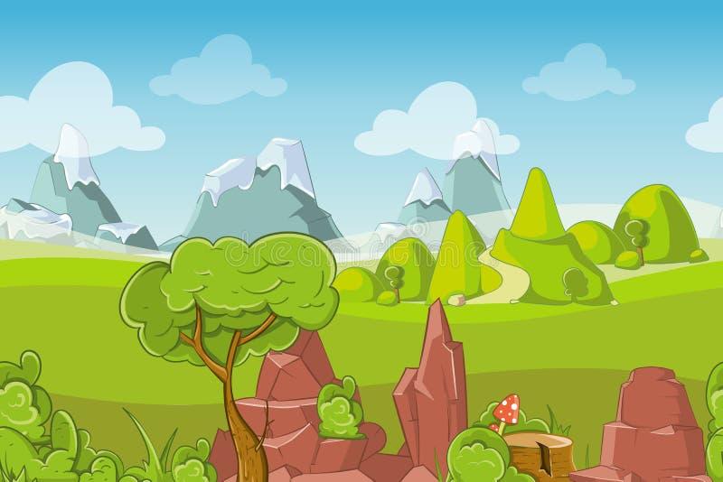 Aard naadloos vectorlandschap met heuvels, bomen en bergen vector illustratie
