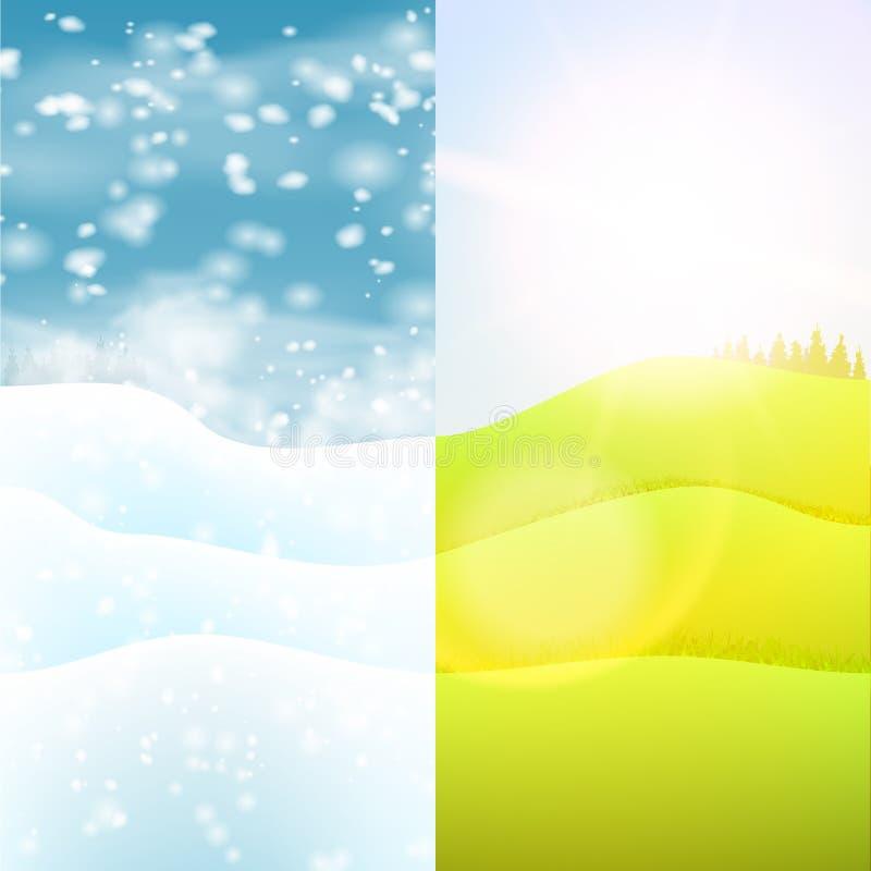 aard seizoengebonden landschap Heuvels met Gras en Sneeuw royalty-vrije illustratie