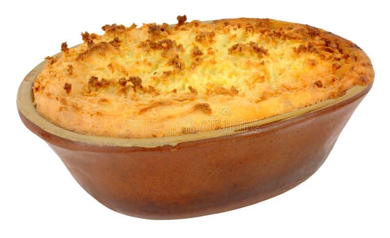 Aardappel Bedekte Pastei in Oude Aardewerkschotel royalty-vrije stock afbeeldingen