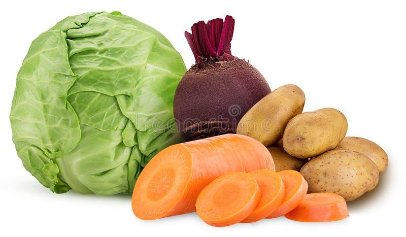 Aardappel en wortel gehakte ring, één rode bietwortel, kool stock foto