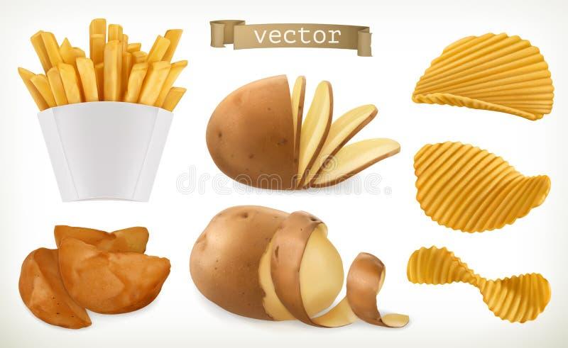 Aardappel, wiggen en gebraden gerechtspaanders plantaardig Drie kleurenpictogrammen op kartonmarkeringen vector illustratie