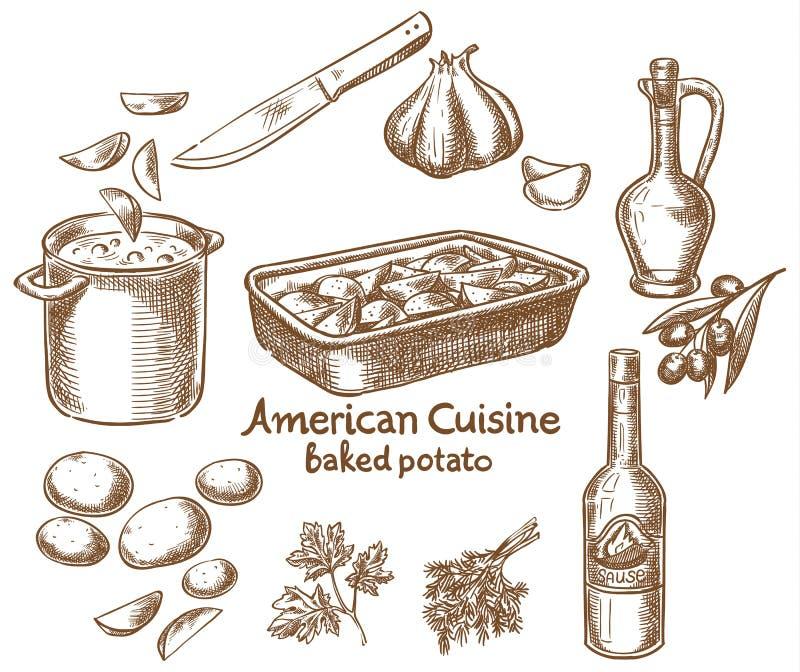 Aardappelen in de schil en ingrediënten vector illustratie