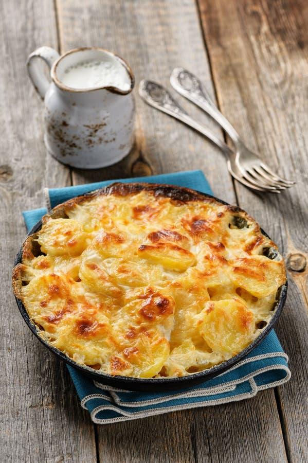 Aardappelgratin in braadpan met room en kaas stock foto