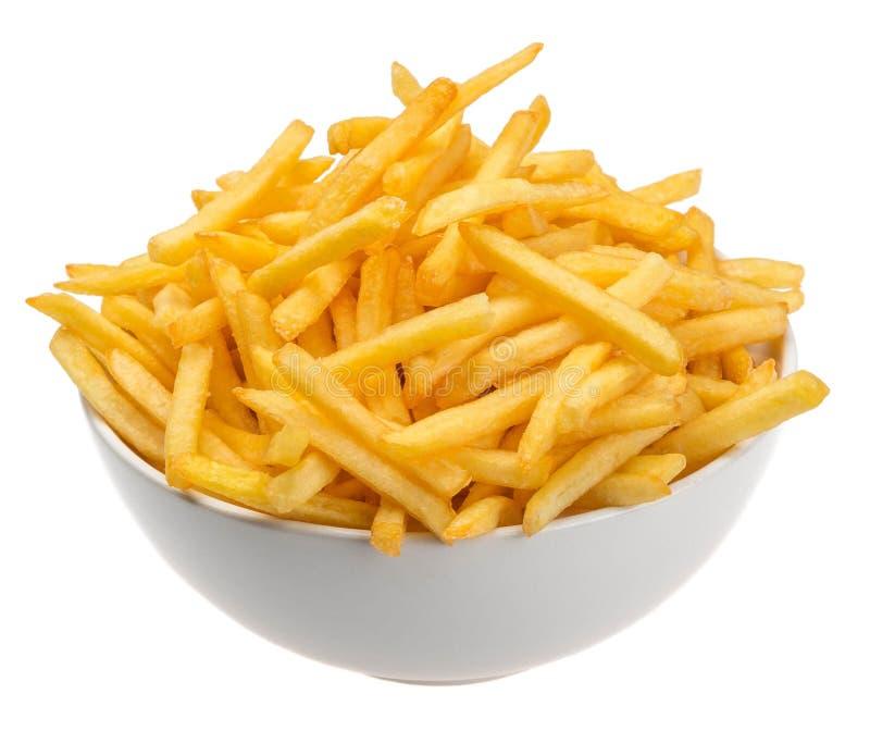 Aardappels die in olie worden gebraden royalty-vrije stock foto's