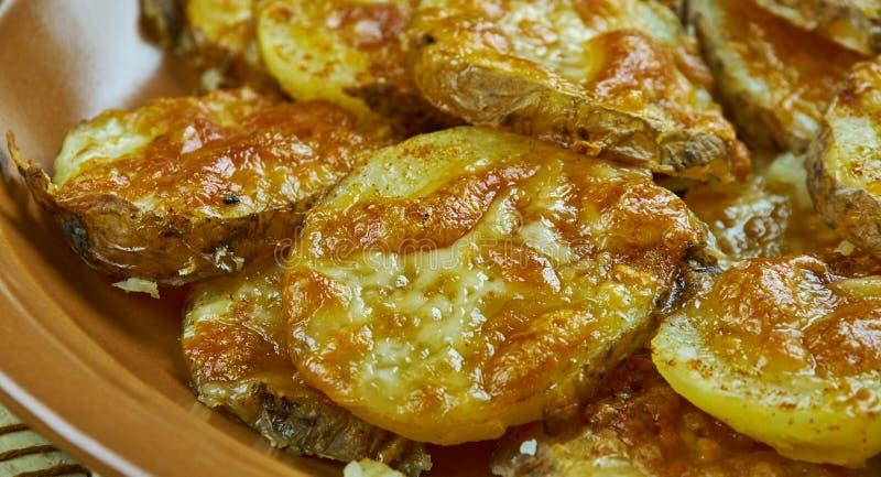 Aardappels van de parmezaanse kaas de Knoflook Geroosterde Baby stock fotografie