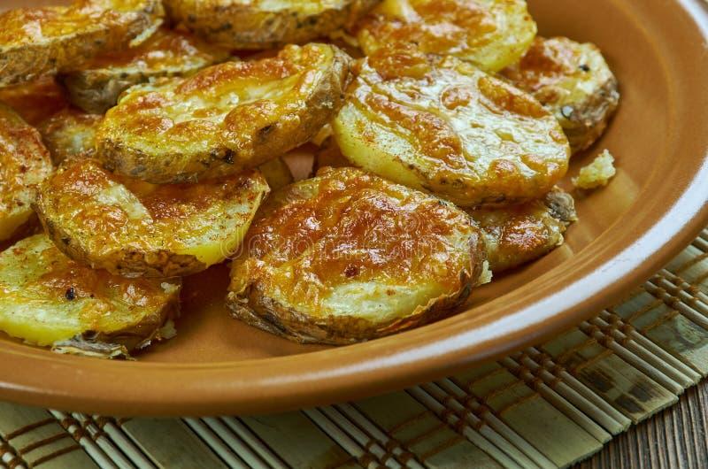 Aardappels van de parmezaanse kaas de Knoflook Geroosterde Baby stock foto's