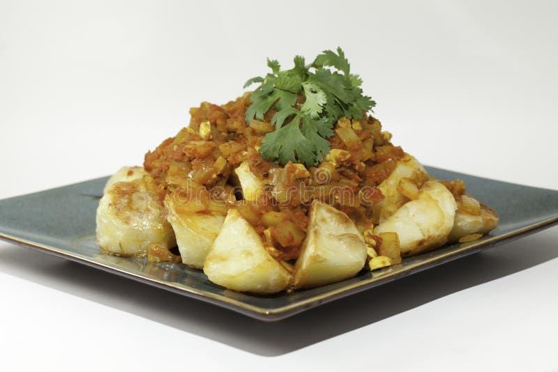 Aardappels van Dum van Aloo de Indische Gekruide stock afbeeldingen