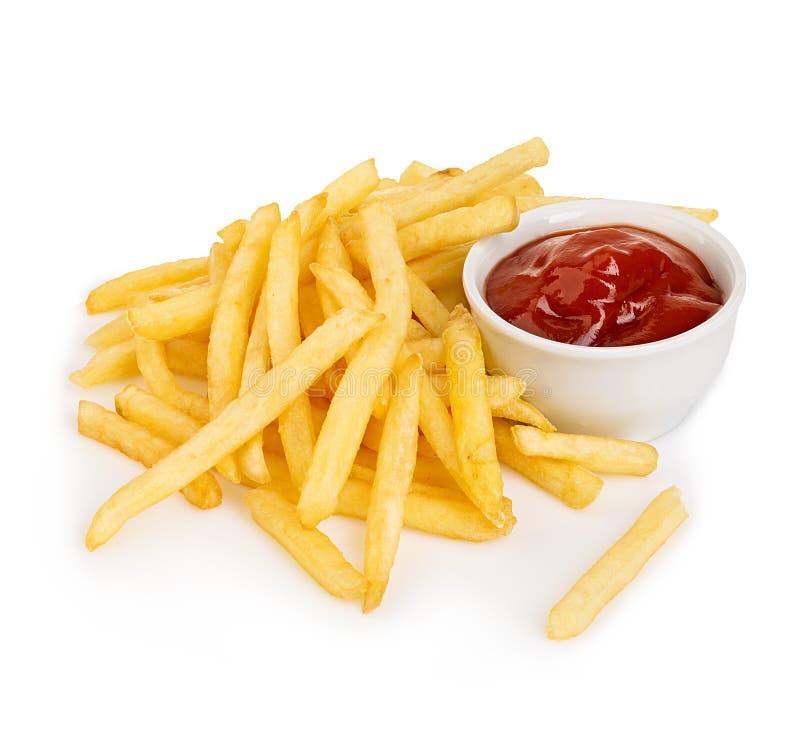 Aardappelsgebraden gerechten met ketchupclose-up op een witte achtergrond wordt geïsoleerd die royalty-vrije stock afbeelding