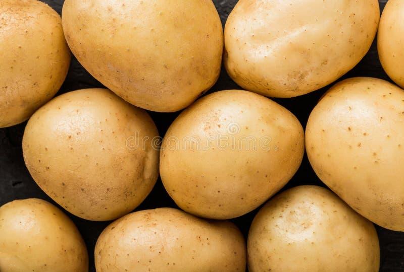 Aardappelspatroon op zwarte achtergrond Het gezonde voedsel, hoogste vlakke mening, legt stock fotografie