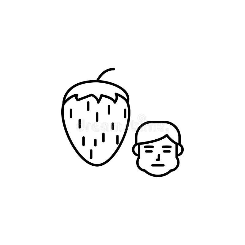 Aardbei, allergisch gezichtspictogram Element van problemen met allergieënpictogram Dun lijnpictogram voor websiteontwerp en ontw royalty-vrije illustratie