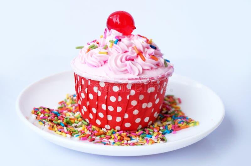 Aardbei cupcake stock foto