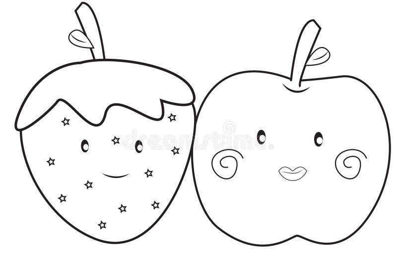 Aardbei en appel kleurende pagina stock illustratie