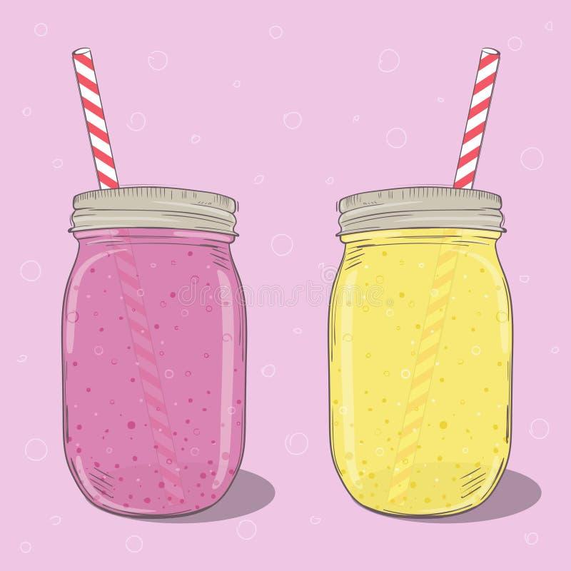 Aardbei en banaanmilkshaken in metselaarkruik op roze achtergrond Vector hand getrokken illustratie stock illustratie