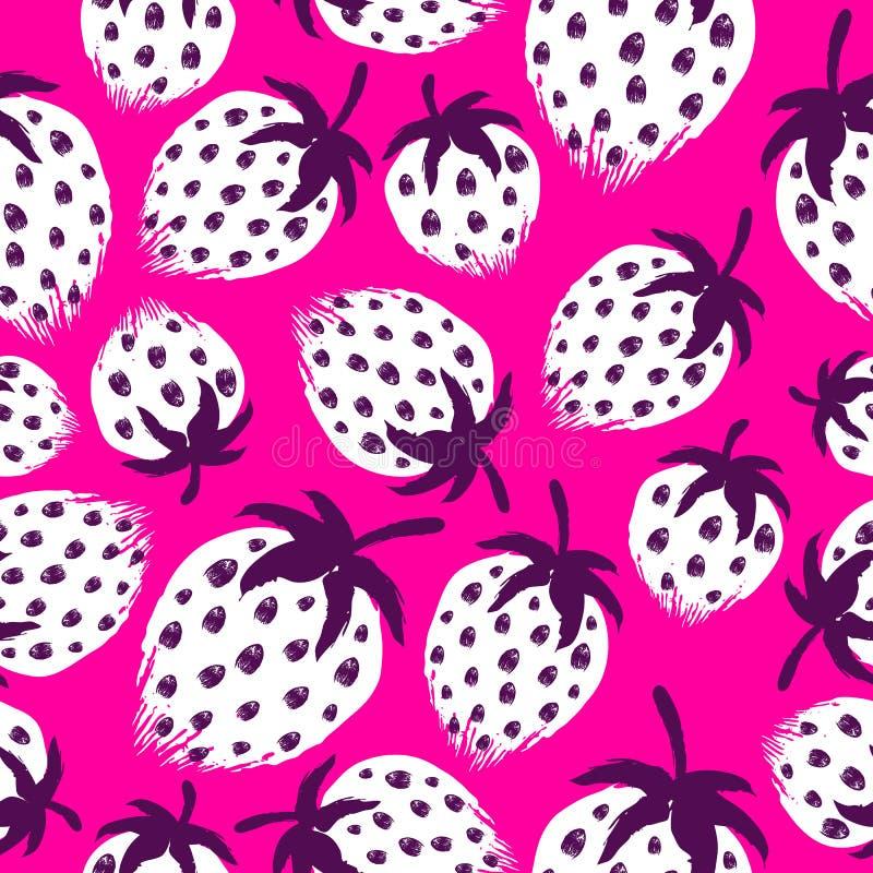 Aardbei geschilderd vector naadloos patroon vector illustratie