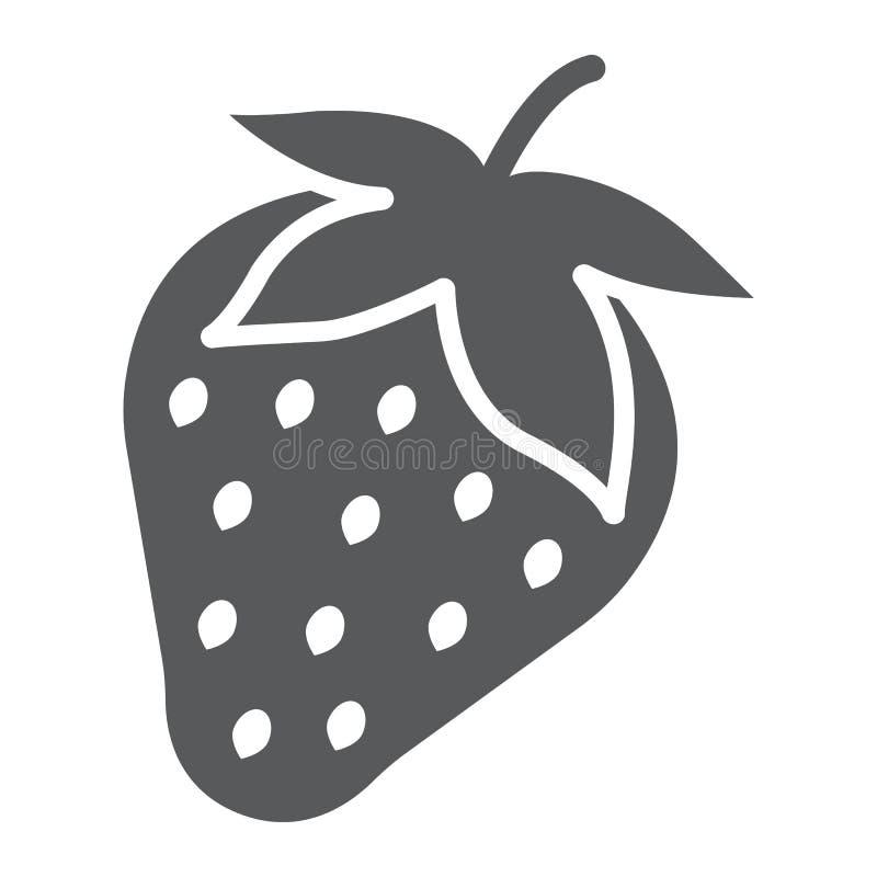 Aardbei glyph pictogram, fruit en vitamine stock illustratie