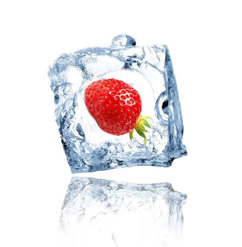 Aardbei in ijsblokje stock afbeelding