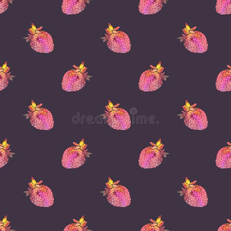 Aardbei Naadloos patroon met kosmisch of melkweg vector illustratie