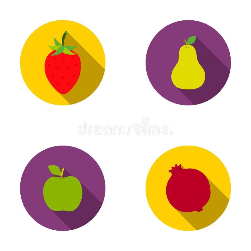 Aardbei, peer, appel, granaatappel Vruchten geplaatst inzamelingspictogrammen in het vlakke Web van de de voorraadillustratie van vector illustratie