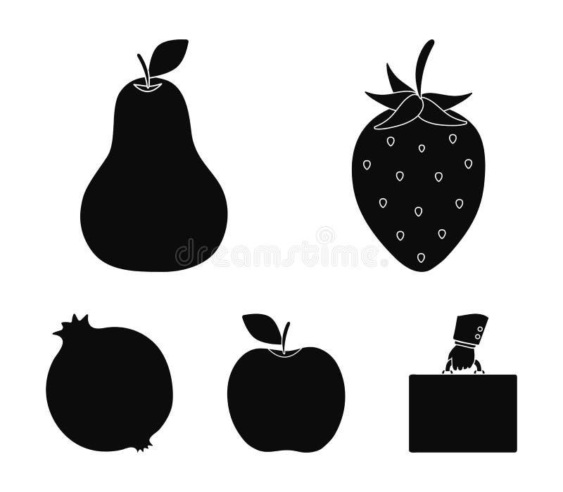 Aardbei, peer, appel, granaatappel Vruchten geplaatst inzamelingspictogrammen in het zwarte Web van de de voorraadillustratie van stock illustratie