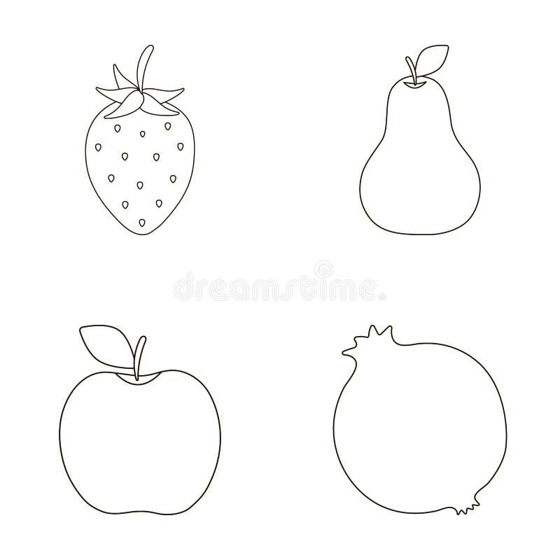 Aardbei, peer, appel, granaatappel Vruchten geplaatst inzamelingspictogrammen in van de het symboolvoorraad van de overzichtsstij stock illustratie
