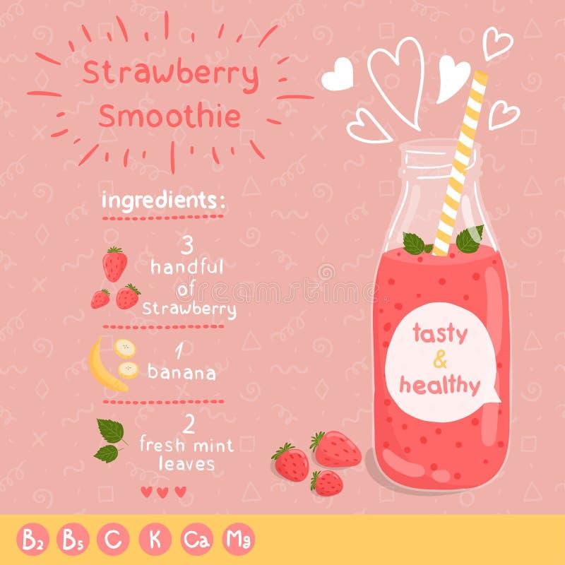 Aardbei smoothie recept royalty-vrije illustratie
