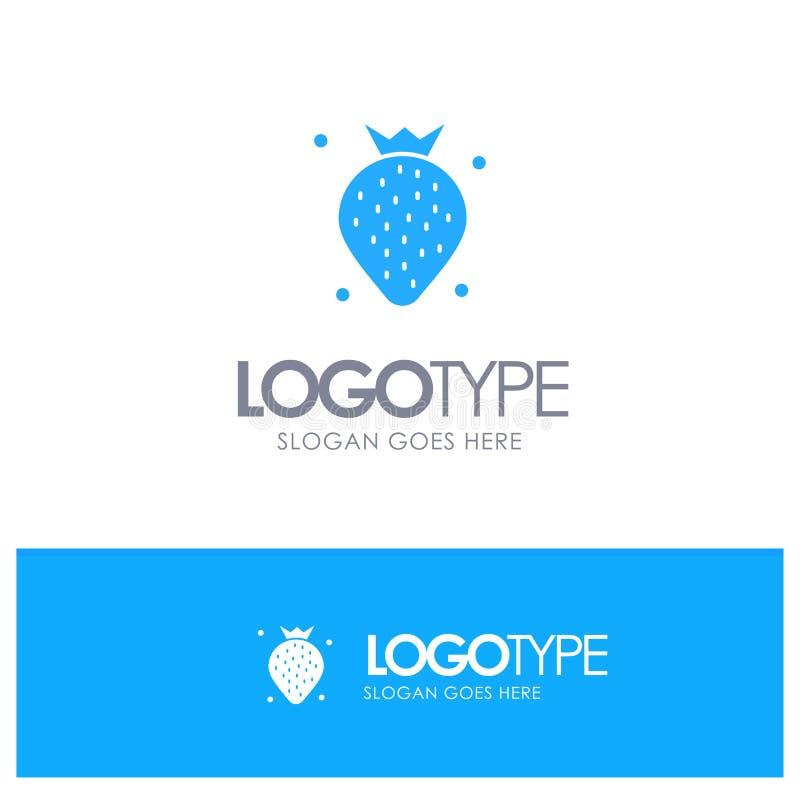 Aardbei, Voedsel, Fruit, Berry Blue Solid Logo met plaats voor tagline vector illustratie