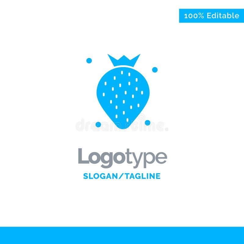 Aardbei, Voedsel, Fruit, Berry Blue Solid Logo Template Plaats voor Tagline vector illustratie