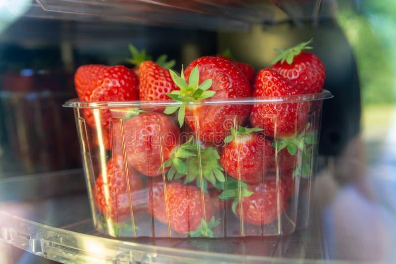 Aardbeiautomaat, rijpe grote rode aardbeien voor verkoop, royalty-vrije stock foto's