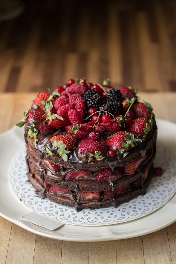 Aardbeicake met braambes, moerbeiboom en donkere chocolade stock afbeeldingen