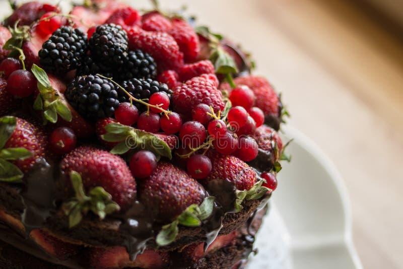 Aardbeicake met braambes, moerbeiboom en donkere chocolade royalty-vrije stock afbeeldingen