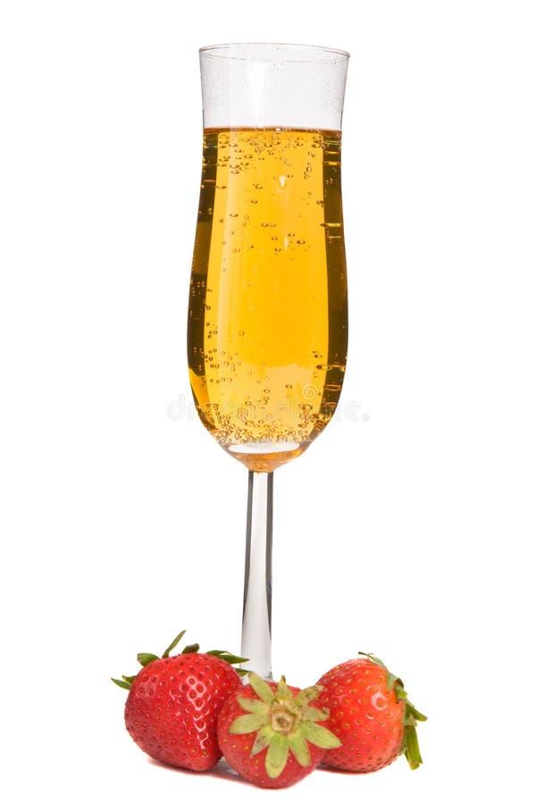 Aardbeien en Champagne stock afbeelding