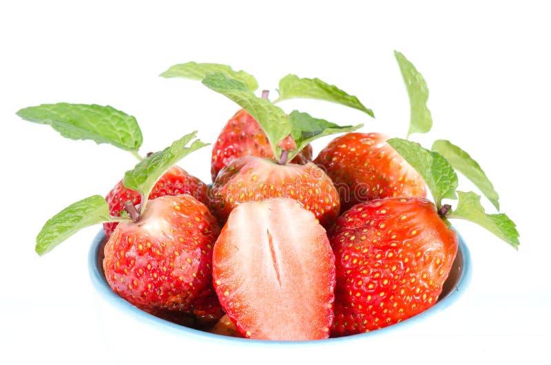 Aardbeien. Geïsoleerd op een witte achtergrond. royalty-vrije stock foto's