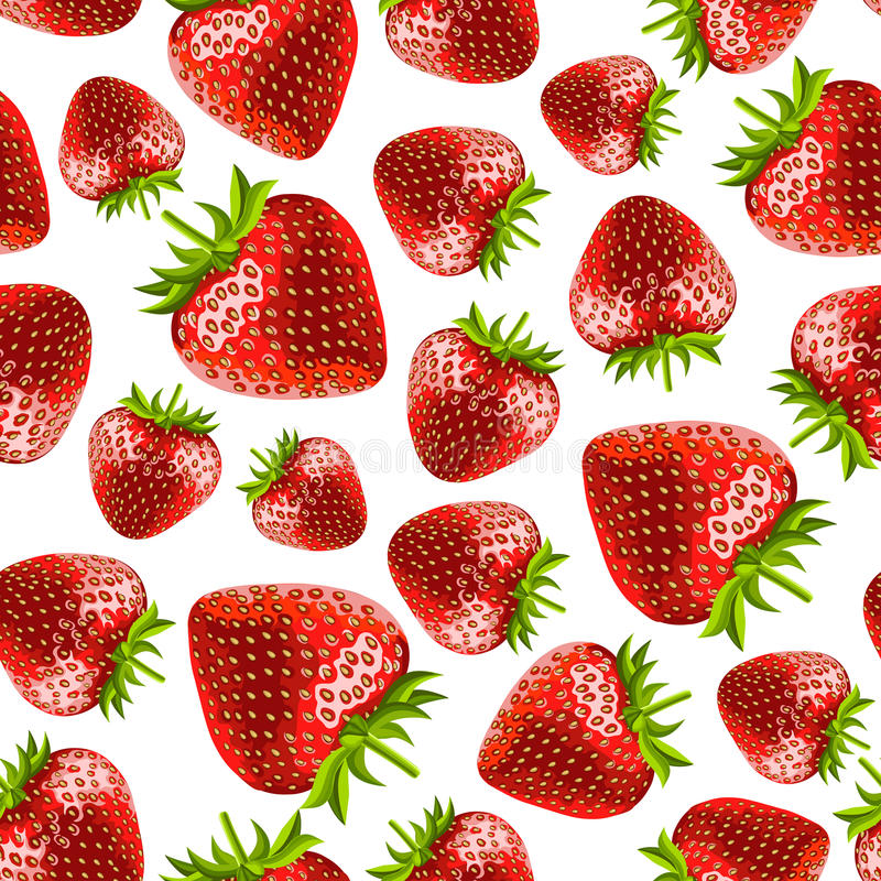 Aardbeien Naadloos Patroon stock illustratie