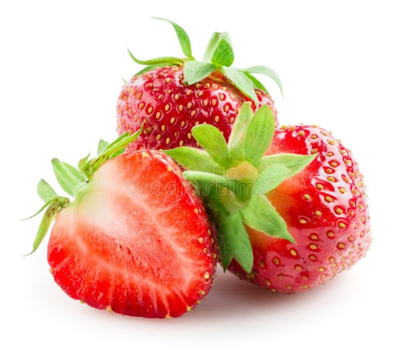 Aardbeien op een wit worden geïsoleerd dat royalty-vrije stock afbeelding