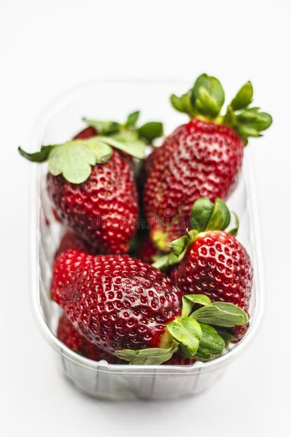 Aardbeien in transparante doos stock afbeeldingen