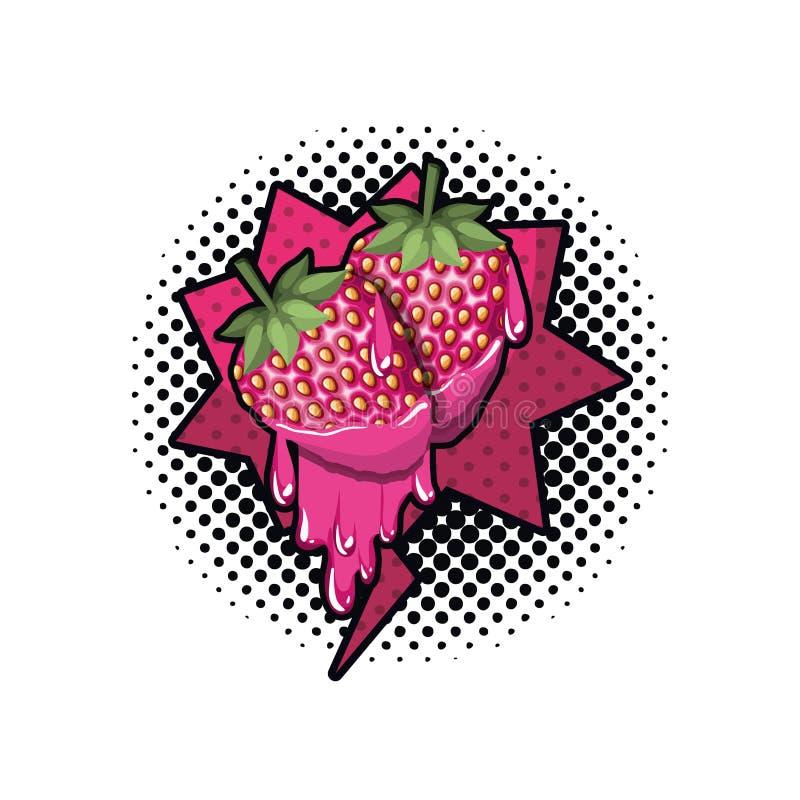 Aardbeifruit met toespraakbel geïsoleerd pictogram stock illustratie