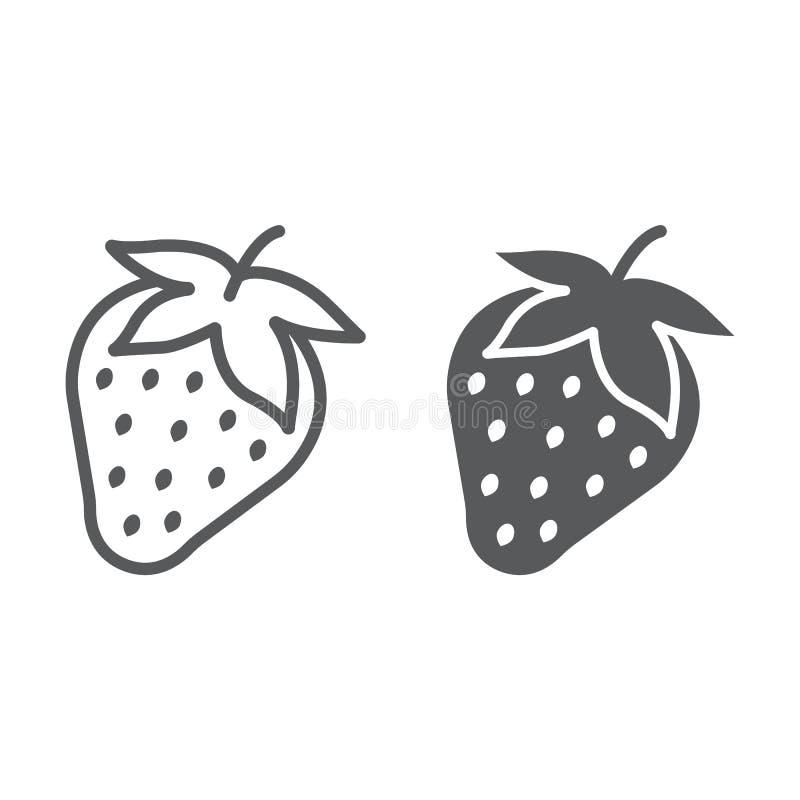 Aardbeilijn en glyph pictogram, fruit en vitamine royalty-vrije illustratie