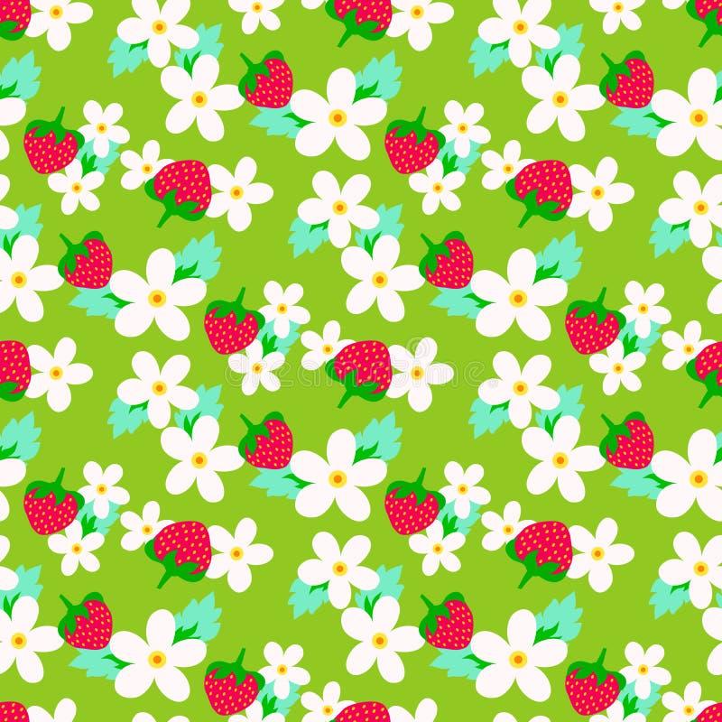 Aardbeipatroon met bloemen vector illustratie