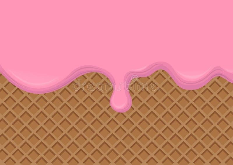 Aardbeiroom die op Wafeltjeachtergrond wordt gesmolten Vector illustratie stock illustratie